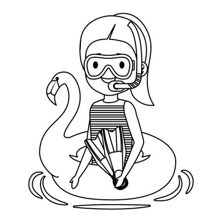 little girl with flemish float and snorkel vector illustration design