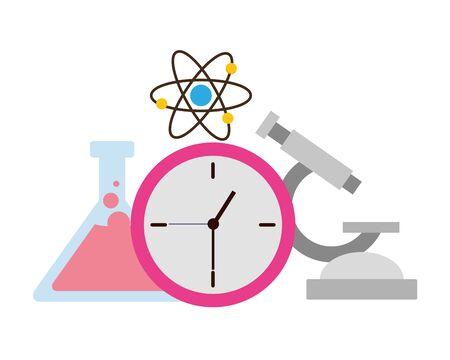 La ciencia de la escuela matraz microscopio atómico, diseño de ilustraciones vectoriales