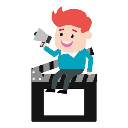 man with megaphone sitting on clapboard film production vector illustration  イラスト・ベクター素材