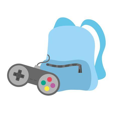 travel backpack and videogames control icon vector illustration design Illusztráció