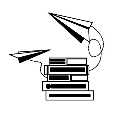 books with paper plane isolated icon vector illustration design