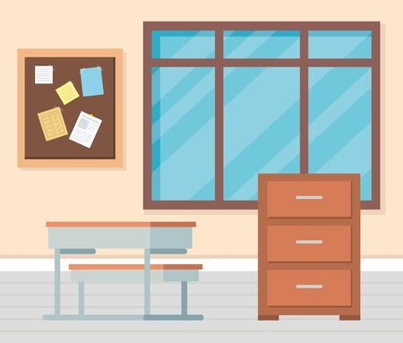 academic classroom with desk and note board to school education vector illustration Illustration