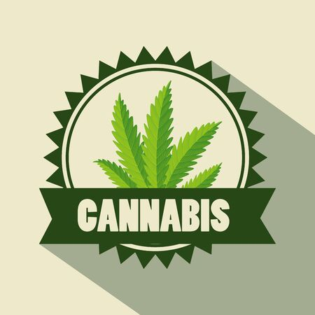 label of cannabis nature plant and natural medicine vector illustration Ilustração