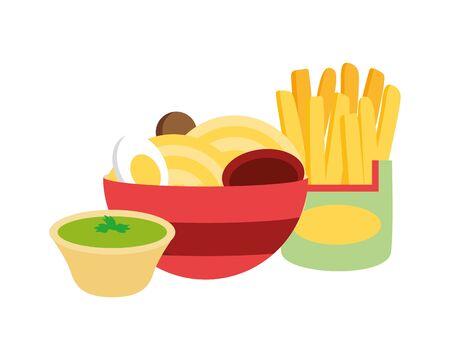 soup ramen noodles french fries sauce fast food vector illustration Stock Illustratie