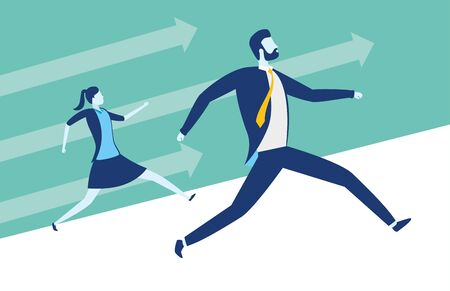 businessman and woman running business success vector illustration Illustration
