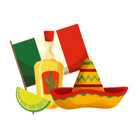tequila with mexican hat and flag cinco de mayo celebration vector illustration