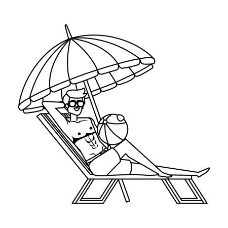 young man in beach chair with ball toy and umbrella vector illustration design