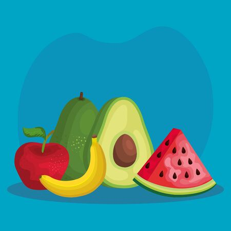 tropical organic fruits nutrition with vitamin over blue background, vector illustration Illustration