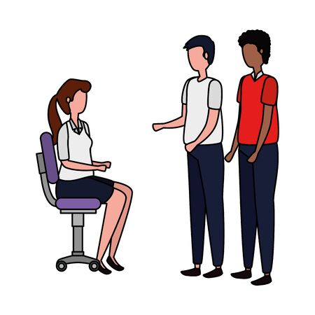elegant business people workers seated in office chairs vector illustration design