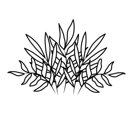 branches with leafs plants decorative icon vector illustration design Illustration