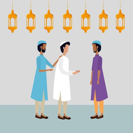 ramadan kareem lanterns hanging with men group vector illustration design