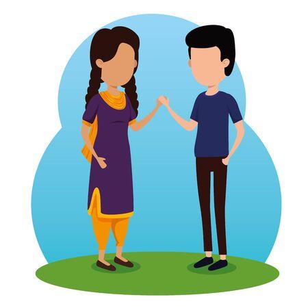 boy and girl siblings event celebration to raksha bandhan, vector illustration