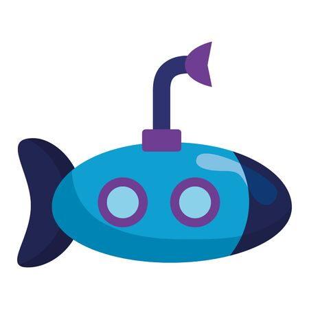 submarine with periscope kids toys on white background vector illustration Vetores