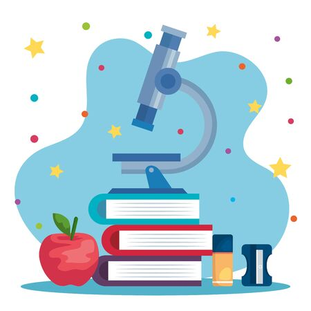 books with apple fruit and microscope with eraser and sharpener to back to school vector illustration