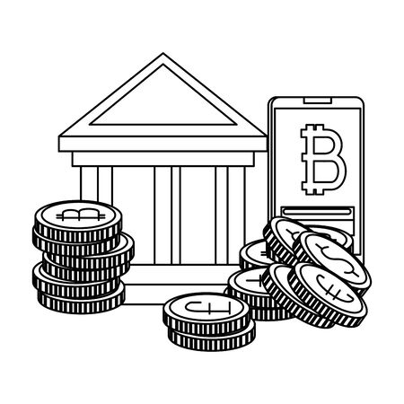 bank building with bitcoins icons vector illustration design Reklamní fotografie - 129361279