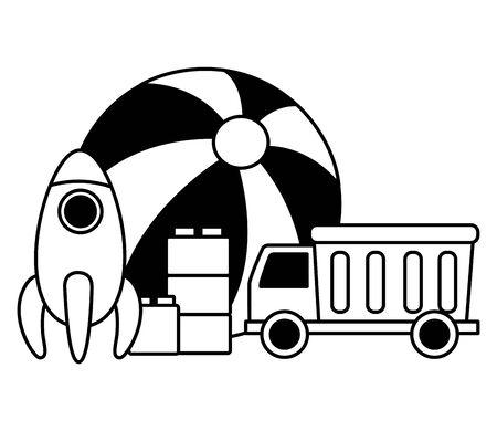 kids toys rubber ball rocket truck and blocks vector illustration Stock Vector - 129835032