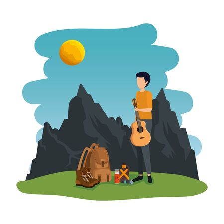 young man with guitar in the camping zone vector illustration design Иллюстрация
