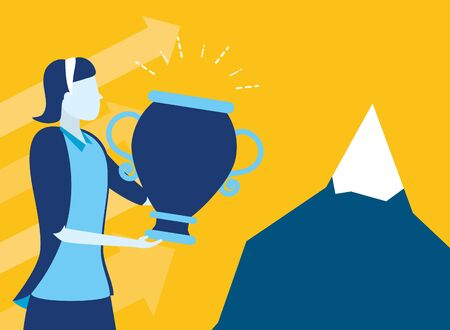 businesswoman with trophy mountain business success vector illustration Иллюстрация