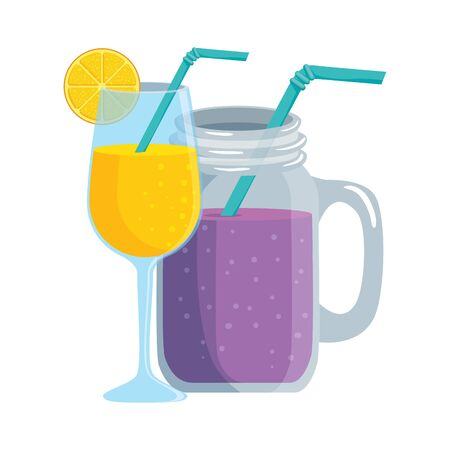 summer tropical cocktails with citrus fruit and straw vector illustration design