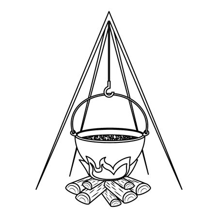 wood fire with pot cooking vector illustration design Banque d'images - 129361515