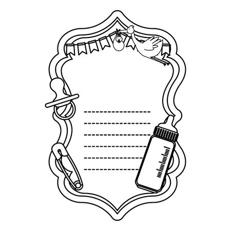 baby shower card with pacifier and bottle milk vector illustration design
