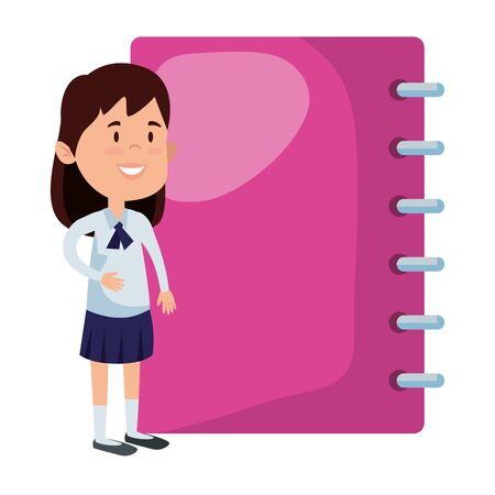 happy student girl with notebook vector illustration design