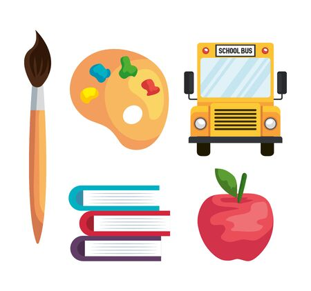 set of brushpaint with school bus and palette with book and apple over white background vector illustration