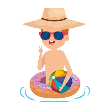 cute little boy with donut float and beach balloon vector illustration design Иллюстрация