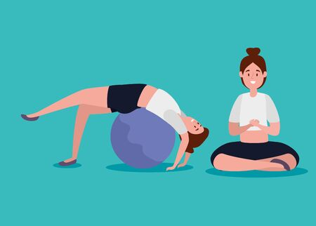 women training yoga meditation with ball over blue background, vector illustration Stock Illustratie
