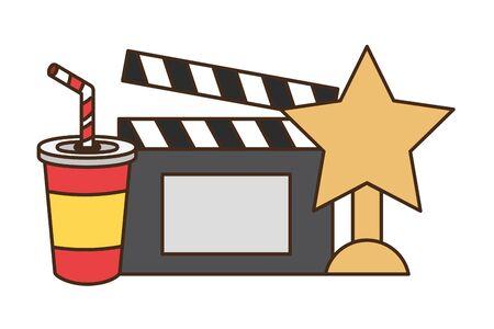 cinema award clapboard soda fast food vector illustration design  イラスト・ベクター素材