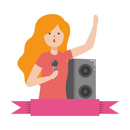 woman singing music with microphone - my hobby vector illustration Çizim
