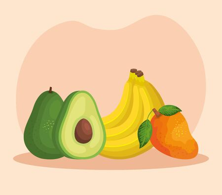 organic avocado with bananas and mango fruits over pink background, vector illustration