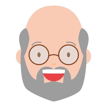 smiling man face on white background vector illustration