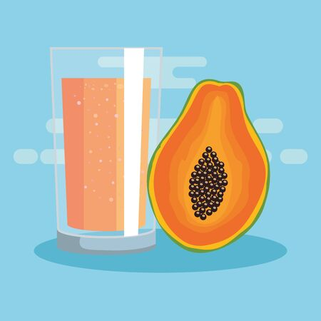 fresh pawpaw fruit with juice nutrition to healthy food vector illustration