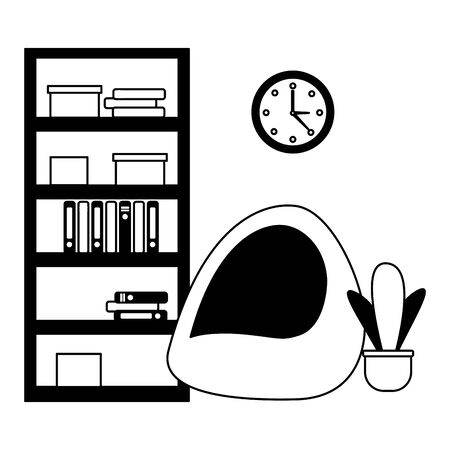 office bookshelf bean chair furniture vector illustration Ilustração