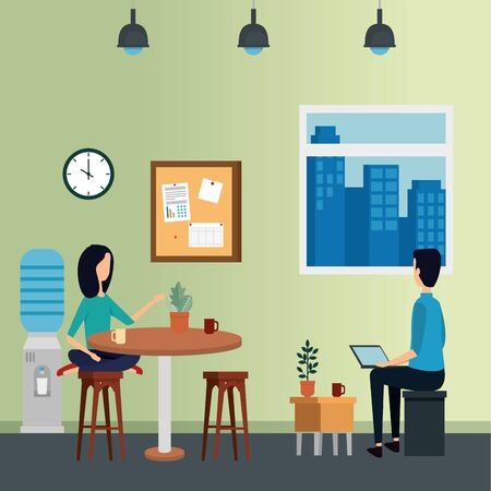 elegant business couple workers in the office vector illustration design Stock Vector - 129329182