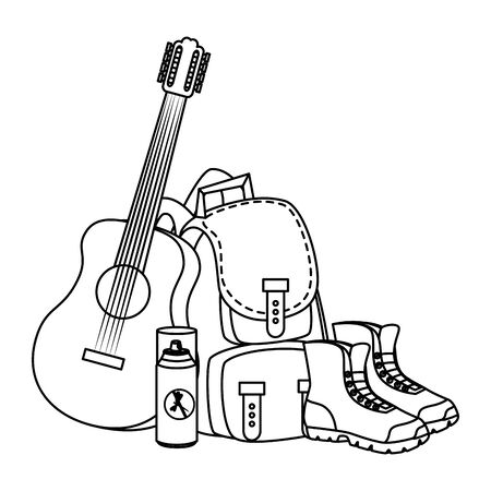 camping travel bag with guitar and boots vector illustration design Фото со стока - 129329189