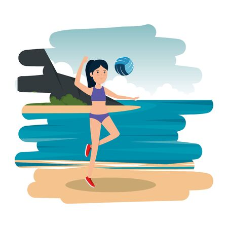 happy athletic girl practicing volleyball on the beach vector illustration design