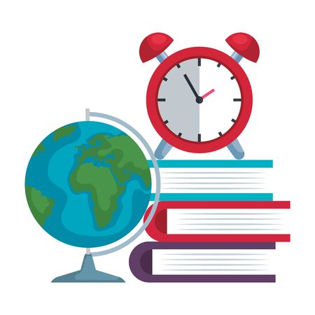 pile textbooks with alarm clock and world map vector illustration design Ilustrace