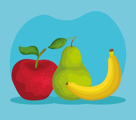 delicious apple with pear and banana fruits over blue background, vector illustration Reklamní fotografie - 129329197