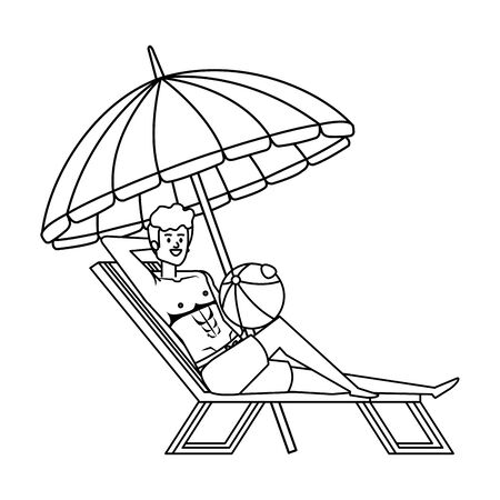 young man in beach chair with balloon toy and umbrella vector illustration design Illusztráció