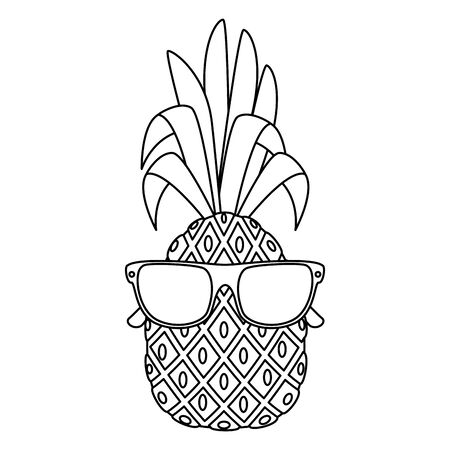 summer fresh fruit pineapple with sunglasses character vector illustration design Stock Vector - 129361814