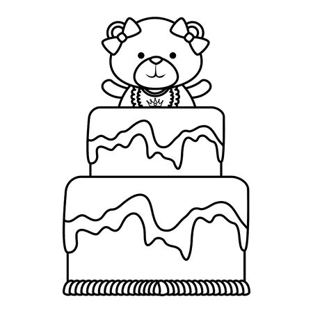 cute bear teddy female with bows in sweet cake vector illustration design