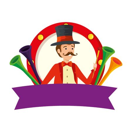circus magician with hat and trumpets in frame vector illustration design Illusztráció