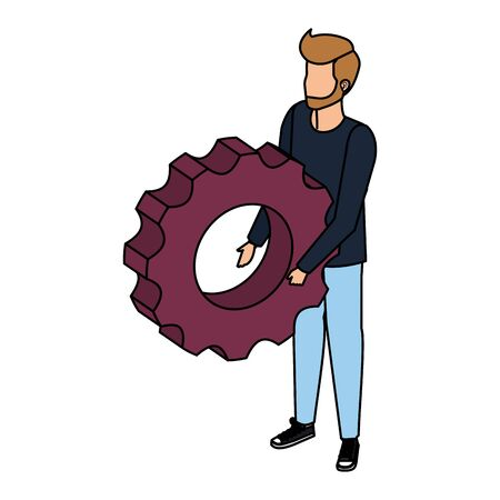 young man lifting gear machine settings vector illustration design