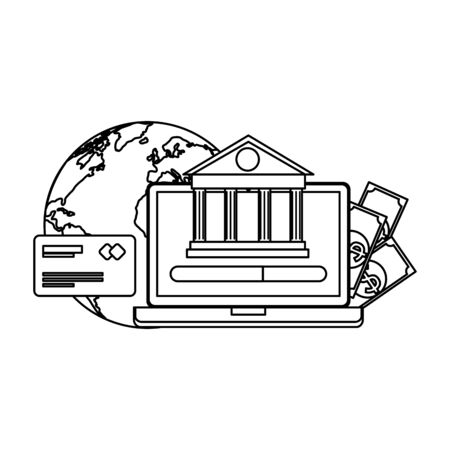 laptop with bank building and ecommerce icons vector illustration design Illustration