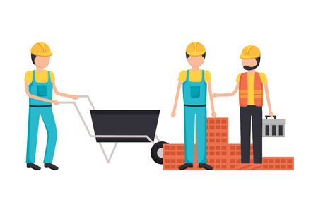 workers construction wheelbarrow bricks toolbox vector illustration 版權商用圖片 - 129835390