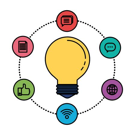 bulb idea think with social media icons vector illustration design