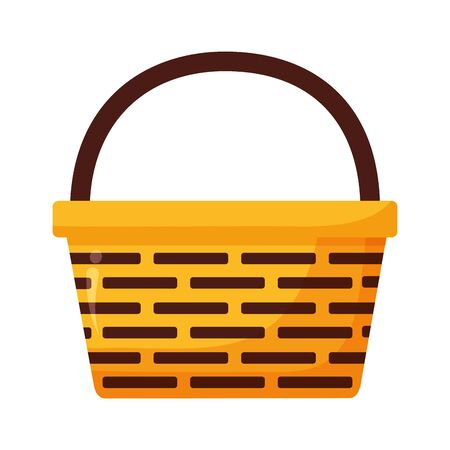 wicker basket icon on white background vector illustration