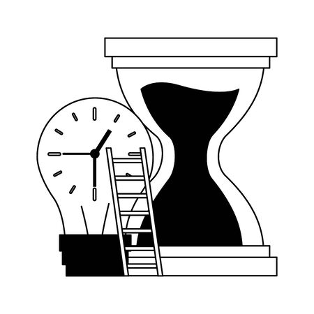 work clock stairs bulb creativity vector illustration